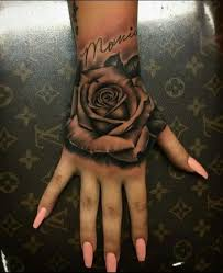 Best Rose Hand Tattoo Designs 80 In Clock With