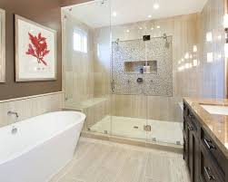 Mid Sized Tuscan Master Multicolored Tile And Mosaic Beige Floor Porcelain Bathroom