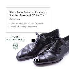 black satin evening shoelaces slim for tuxedo u0026 white tie by fort