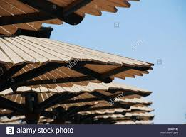 100 Wooden Parasols Row Of Wooden Slate Parasols Stock Photo 28028487 Alamy