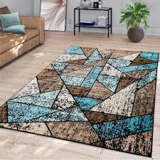 wohnzimmer teppich rauten design vintage moderner kurzflor in braun blau beige größe 200x280 cm