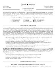 Car Salesman Resume Objective Auto Salesperson Sample Unique