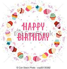 Cupcake Birthday Frame Vector