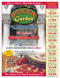 Please ask for our NEW MENU Pizza Garden in Pitman