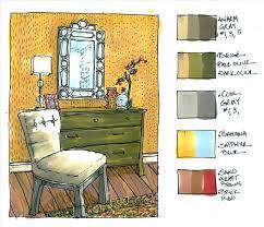 Room Interior Design Wall Gray Furniture Drawing Color Corner Sofa Modern Living