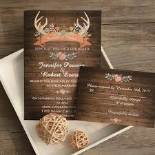 Wood Antler Flower Rustic Wedding Invites EWI415 2