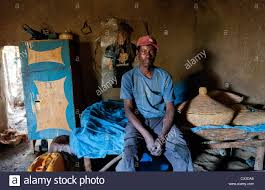 Melka Country Ethiopia Africa Oromo Tribe Poor Man Inside On Bed Of His Humble House Proud And Glad To Have A Home 4