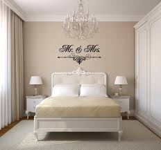 Vinyl Wall Art For Small Master Bedroom With Elegant Curtains And