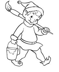 Christmas Elf With Pain And Brush Coloring Page