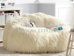 White Fluffy Bean Bag Chair