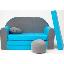 canapé convertible enfant canapé lit enfant convertible gris et bleu achat vente fauteuil