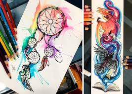 Fantasy Watercolor Paintings And Colored Pencils Drawings