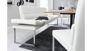 interliving esszimmer serie 5601 solobank weißes longlife leder casay bianco 33 gebürsteter edelstahl länge ca 24