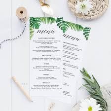 Tortilla Curtain Pdf Download by Tropical Printable Wedding Menu Template Kraft Menu Cards Menu