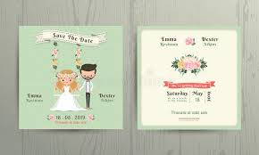 Download Rustic Wedding Cartoon Bride And Groom Couple Invitation Card Stock Vector