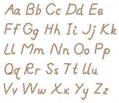 Grote En Kleine Letters Van Het Alfabet Van Touw Stockfoto