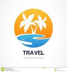 Beautiful Beach Design Has Vector Logo Template Green Palm Seaside Concept Travel Agency Tropical Resort Cool