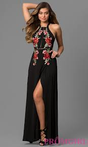 embroidered open back black maxi party dress promgirl