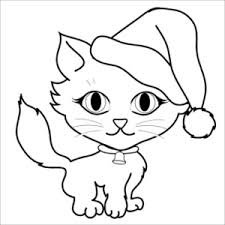 Free Cat Clip Art Image Coloring Page Of A Cute Little Kitten Wearing Santa