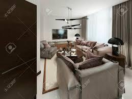 modernes wohnzimmer mit sitzgelegenheiten und media storage die warmen braun und beigetöne 3d übertragen