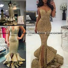 real photo sparkly spaghetti straps mermaid long gold prom dresses