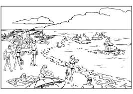 Coloring Sheet Of A Crowded Beach From The Gallery Landscapes