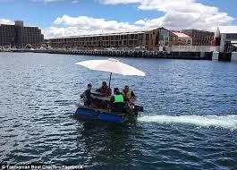 tasmanian friends build a motorised picnic table to jet around
