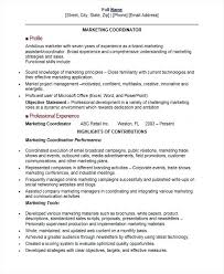 Event Management Resume Marketing Coordinator Samples Operations Objective