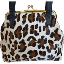 faux leopard on fur shoulder bag purse by cee klein from