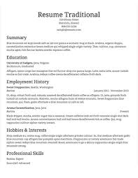 Select Template A Sample Of Traditional Resume