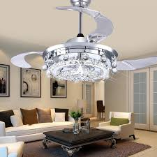 FUMAT LED Ceiling Fans Crystal Light Dining Room Living Fan Droplights Modern Lights For In From