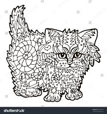 Illustration With Hand Drawn Cat Doodles Drawing For Coloring Book Zentangle