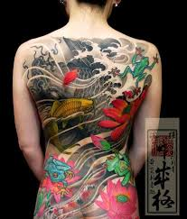 Color Ink Japanese Asian Tattoo On Back For Girls