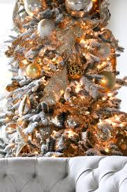 Flocked Christmas Trees Decorated by Holiday Home Showcase Decor Gold Designs