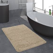moderner badezimmer teppich einfarbig hochflor badteppich rutschfest in beige