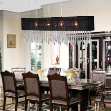 Design Trend With Dining Room Crystal Chandelier Combine Rectangular Black Shade Plus Glass Top