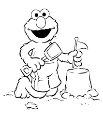 Elmo Coloring Pages Printable In Beach