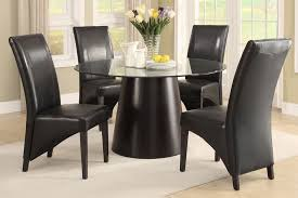 UpTown Ultra Modern Black Round Glass Top Dining Table Set Espresso Flared Back Chairs