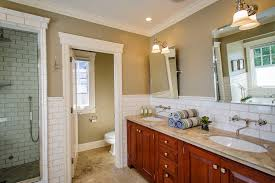 Tiles For Backsplash In Bathroom by Mirrored Subway Tile Backsplash Bathroom Transitional With Mirror
