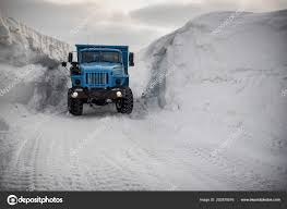 Clearing Snow Arctic Dump Trucks Take Out — Stock Photo © Luxfer ...