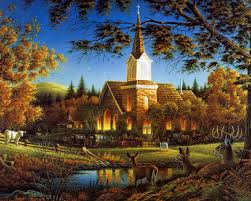 Country Church Idyllic Scenery Grass Fields Deer Painting Building Windows Forest Animals Lights Pond Mountain Blue
