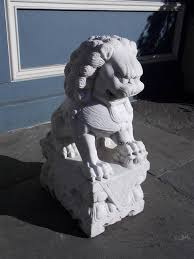 Decorative Plinth by Chinese Marble Foo Dog Resting On Squared Decorative Plinth 20th