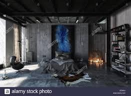 schlafzimmer im modernen schwarzen und grauen interior