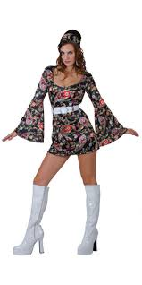 Ladies 1960s Retro Hippy Girl Fancy Dress Costume