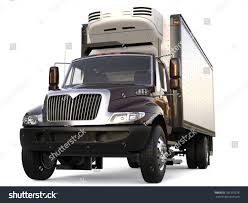 Black Refrigerator Truck With Black Trailer Unit - Front View ...