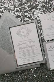 Silver glitter wedding Invitations with ribbon belt and initials tag