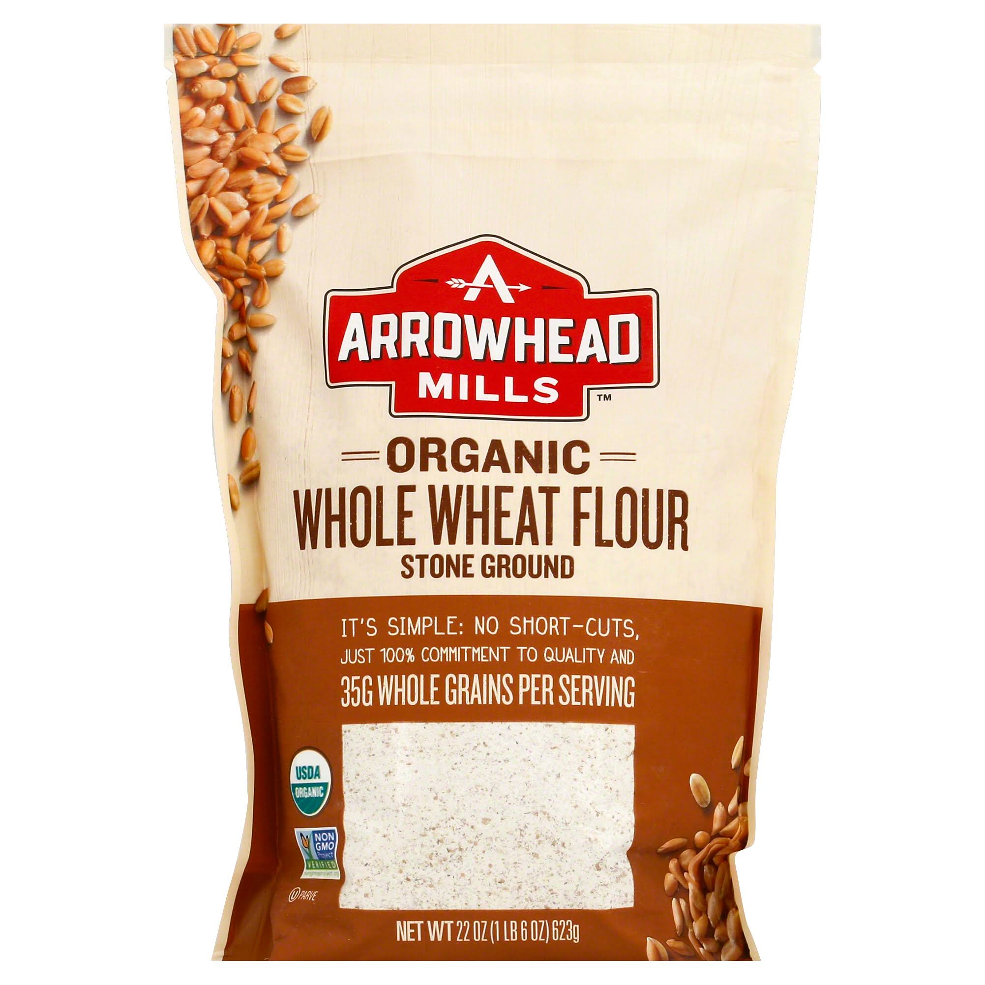 Arrowhead Mills Whole Wheat Flour, Organic, Stone Ground - 22 oz