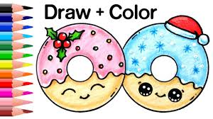 How To Draw Color Christmas Donuts Step By Easy And Cute