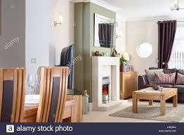 ein offenes wohnzimmer esszimmer mit kamin elektrische