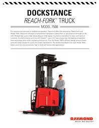 100 Raymond Reach Truck 7000 Series Fork Dock Stance PDF Catalogs